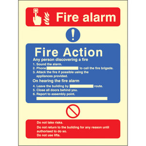 Photoluminescent Fire Action / Call Point without Lift Safety Sign  Available in Rigid Plastic and Self-Adhesive Vinyl  Sizes: 200x150mm and 300x250mm