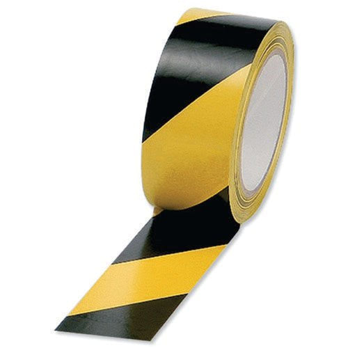 50mm wide x 33m long roll  Product code: 60318 A heavy duty plasticised striped PVC film coated with an aggressive pressure sensitive adhesive. For factory demarcation and hazardous areas