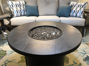 "36"" Round Porcelain Tile Top Fire Table"