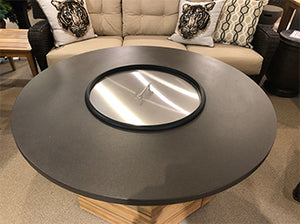 "48"" Fire Table with a Hexagon Teak Base and Stainless Lid and Burner Control"