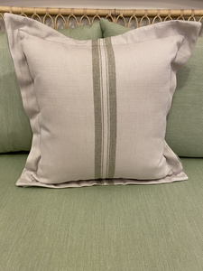 "Summer Classics 20"" Pillow — Vintage Sage Stripe"