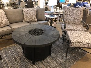 "40"" Round Aluminum Fire Table with a Reclaimed Wood Look Top"