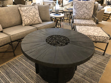 "Load image into Gallery viewer, 40"" Round Aluminum Fire Table with a Reclaimed Wood Look Top"