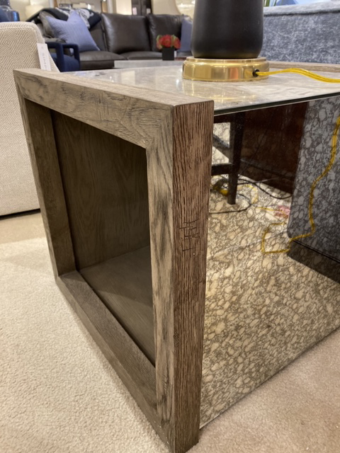 Mirrored End Table with Wood Accents
