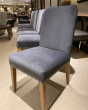 Load image into Gallery viewer, Set of Six Gray Velvet Dining Chairs