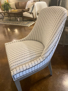 Striped Dining Chairs with Nailhead Trim