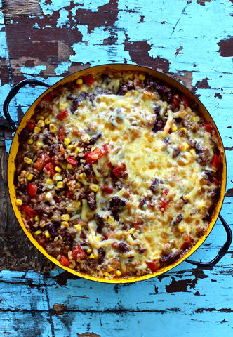 MEXICAN BEEF AND BROWN RICE BAKE