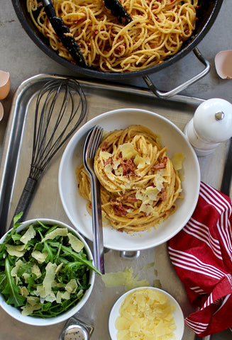 REAL CARBONARA WITH ROCKET & PARMESAN SALAD
