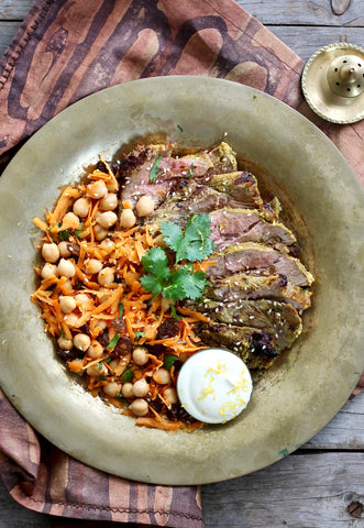 TUMERIC LAMB WITH CARROT & CHICKPEA SALAD