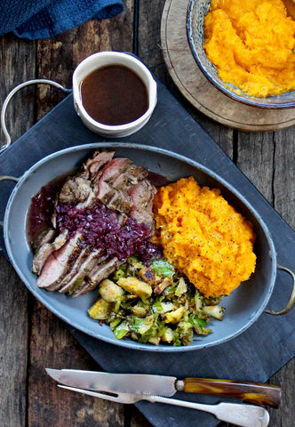 ROAST LEG OF LAMB WITH A RED ONION GRAVY, SWEET POTATO MASH AND BRUSSELS SPROUTS ($12PP)*