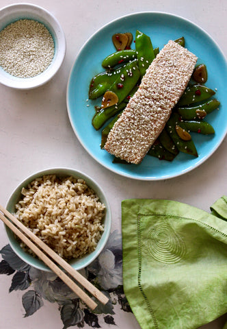 SESAME SALMON WITH ASIAN PEAS AND BROWN RICE