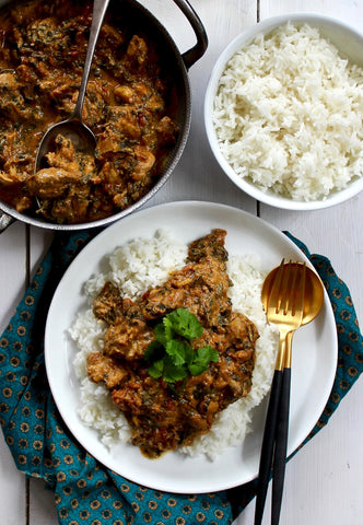 LAMB AND SPINACH WITH STEAMED RICE MILD BY KITCHEN CURRIES ($12PP)