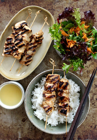 GRILLED FREE RANGE CHICKEN YAKITORI WITH SALAD & RICE