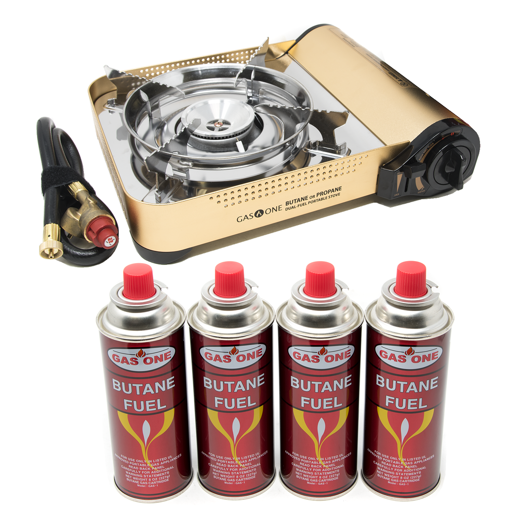12,000 BTU Portable Butane and Propane Camp Stove & 4 Pk Butane Canister Bundle