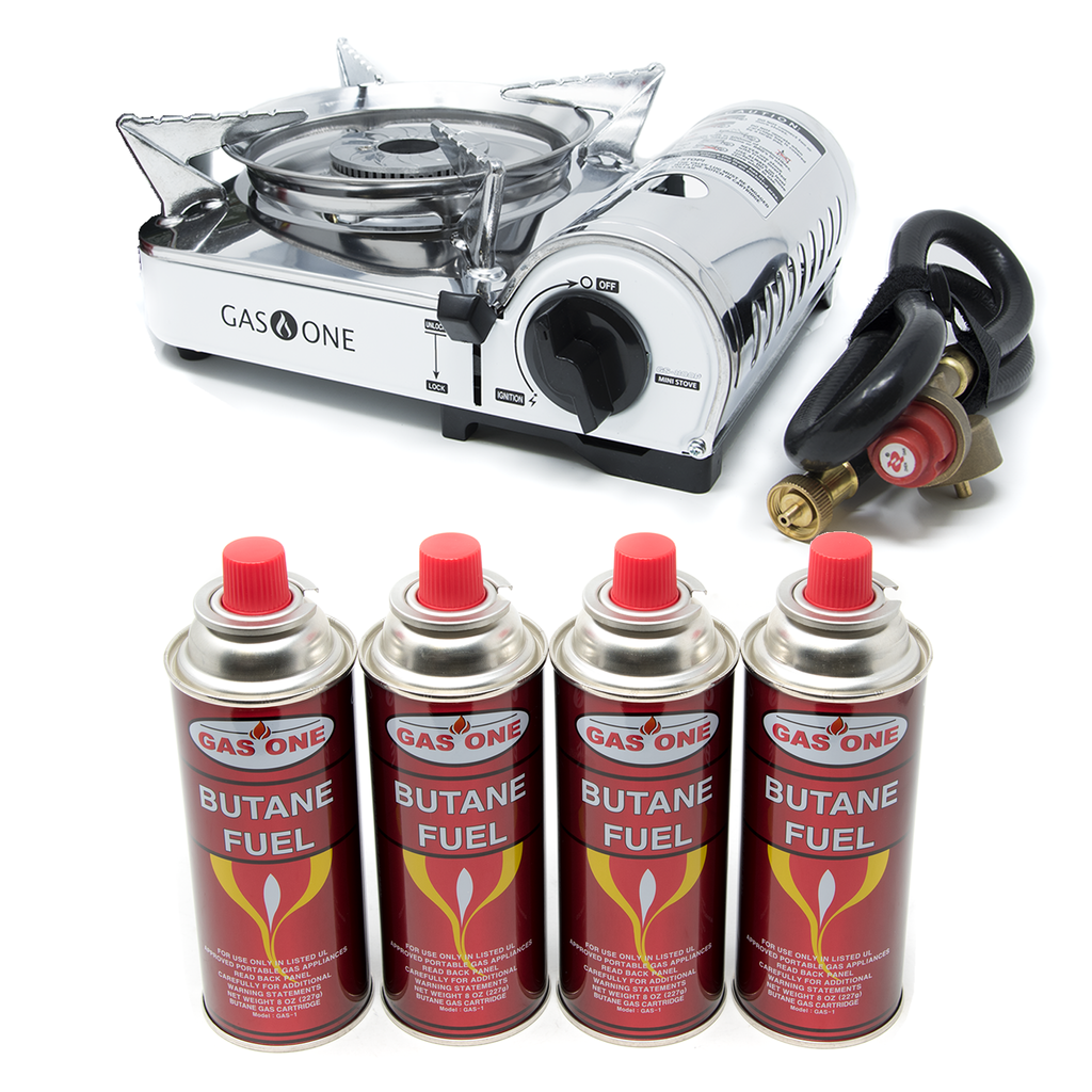 7,172 Portable Butane and Propane Mini Camp Stove & 4 Pk Butane Canister Bundle