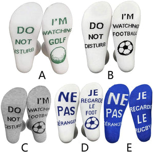 Nuodev Men's Socks, Unisex Funny Crew Socks Do Not Disturb I Am Watching Rugby Football Golf Hosiery - Hybridus