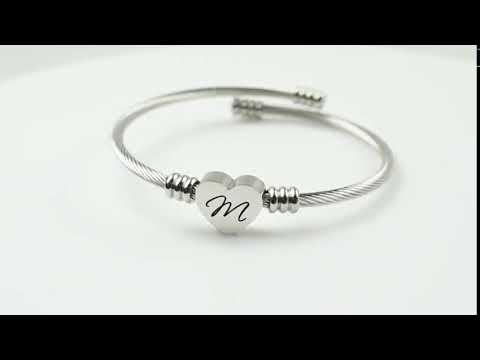 Stainless-Steel Heart Cable Initial Bracelet