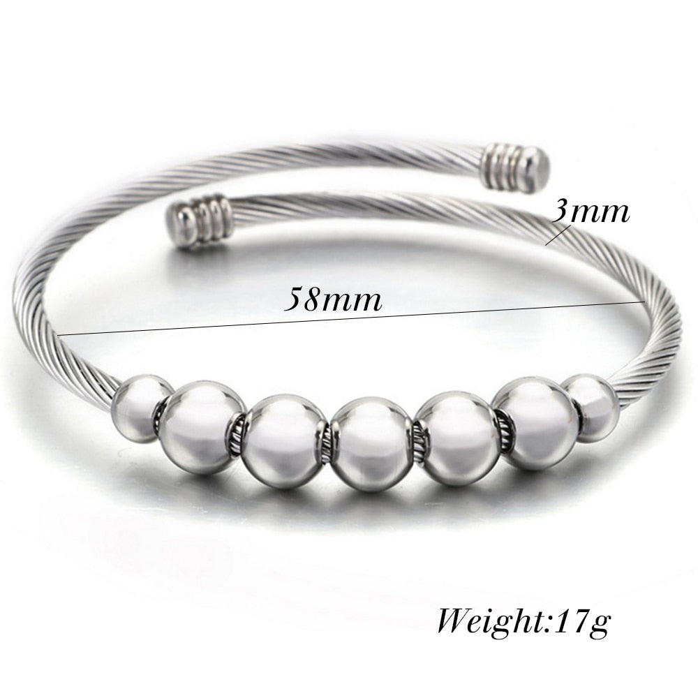Stainless-Steel Beaded Cable Bracelet - Contour Couture