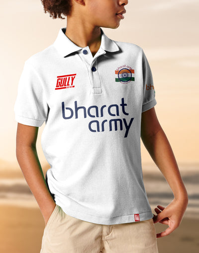 Kid's Bharat Army Jersey White WITH CUSTOMISE OPTION