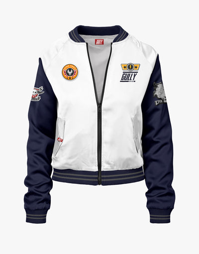 Gully White and Navy Limited Edition Bomber