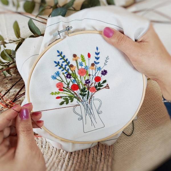 'Everlasting Flowers' Make Your Own Embroidery Set - Aphrodite and Ares ethical store