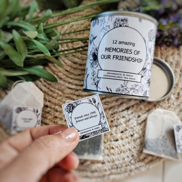 MEMORIES OF OUR FRIENDSHIP - Personalised Tea Bags gift for friends - Aphrodite and Ares ethical store