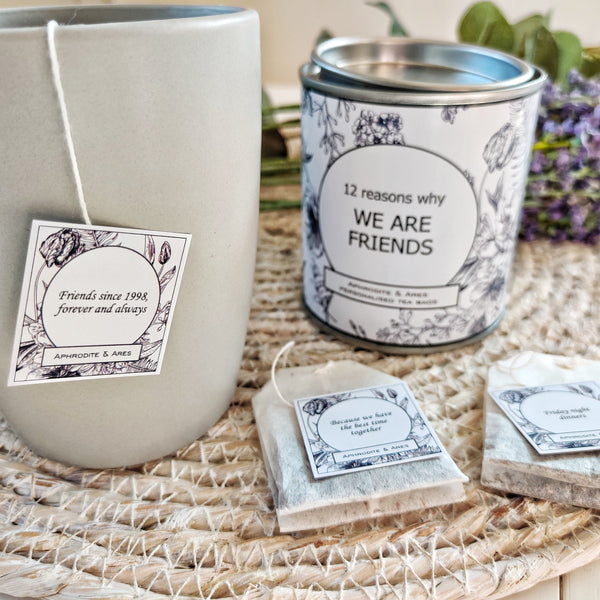 FRIENDS TEA - Personalised Tea Bags gift for friends - Aphrodite and Ares ethical store