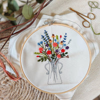 'Flowers In Vase' Make Your Own Embroidery Kit - Aphrodite and Ares ethical store