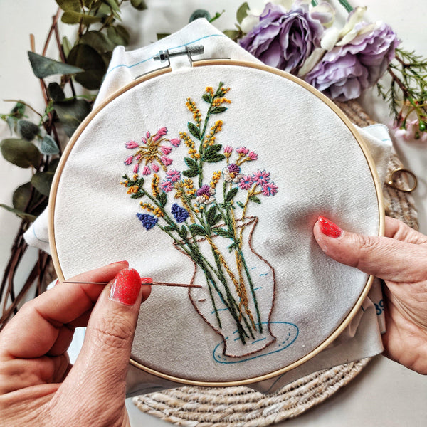 'Flowers In Vase' Make Your Own Embroidery Kit