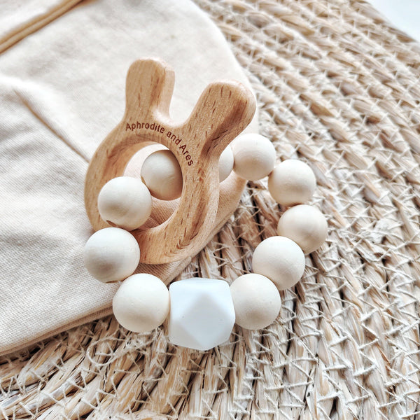 Eco-friendly Wooden Bunny Baby Teether - Aphrodite and Ares ethical store
