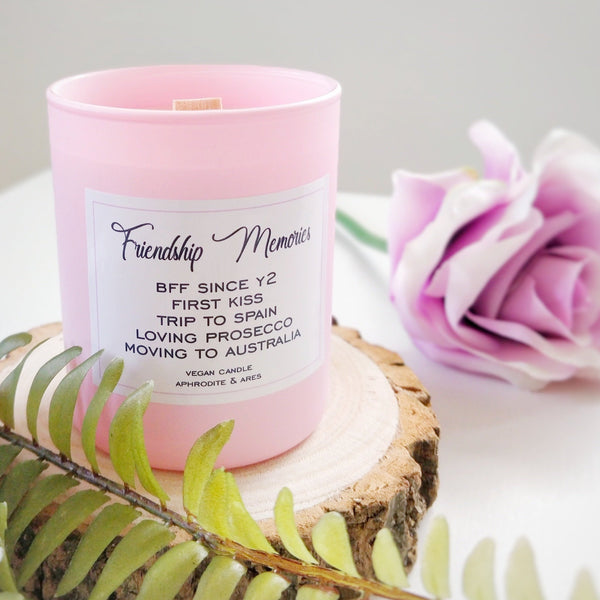 'Friendship Memories' Personalised Friends Vegan Candle - Aphrodite and Ares ethical store