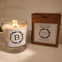 Alphabet Vegan Candle hand-poured with plant-based wax and wooden wick - Aphrodite and Ares ethical store