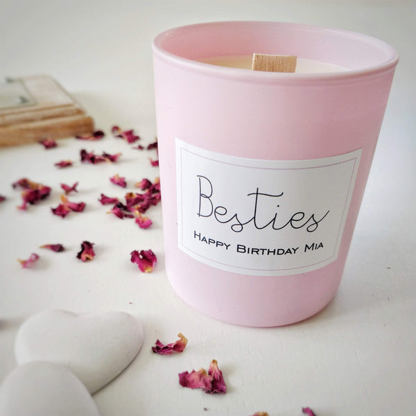 BESTIES - Personalised Vegan Candle with wooden wick - Aphrodite and Ares ethical store