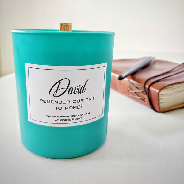 'Happy Memories' Personalised Wood Wick Vegan Candle - Aphrodite and Ares ethical store
