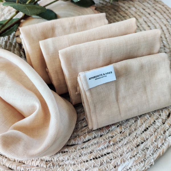 Organic Cotton Muslin Face Cloths x 5 - Aphrodite and Ares ethical store