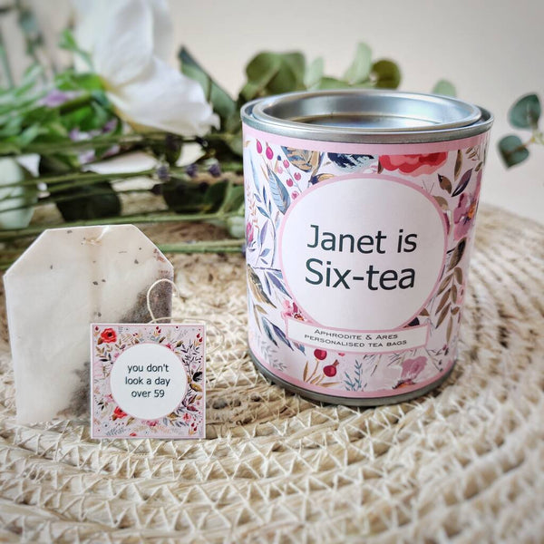 Six-TEA Personalised 60th Milestone Tea Set - Aphrodite and Ares ethical store