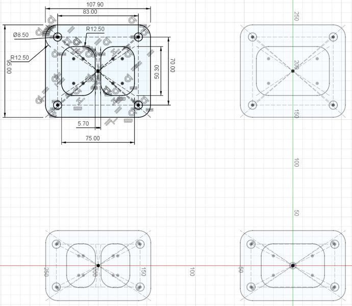 .DXF drawings for laser cutting of stainless steel flanges