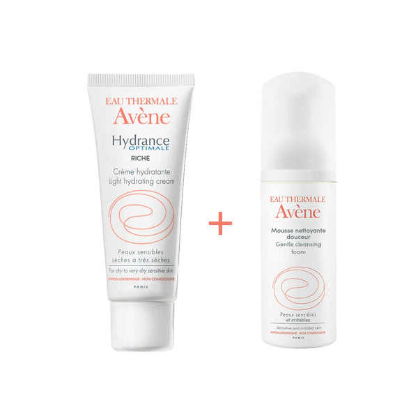 Hydrance Optimale Rich Hydrating Cream for Dry to Very Dry Sensitive Skin 40ml + Cleansing Foam 50ml