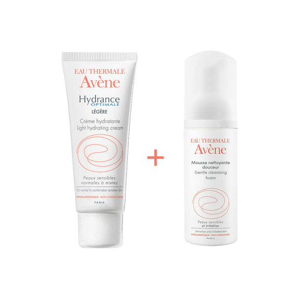 Hydrance Optimale Light Hydrating Cream for Normal to Combination Sensitive Skin 40ml + Cleansing Foam 50ml