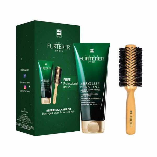 Absolue Kératine Gift Box: Repairing Shampoo for Damaged, Over-Processed Hair 200ml + FREE Professional Brush