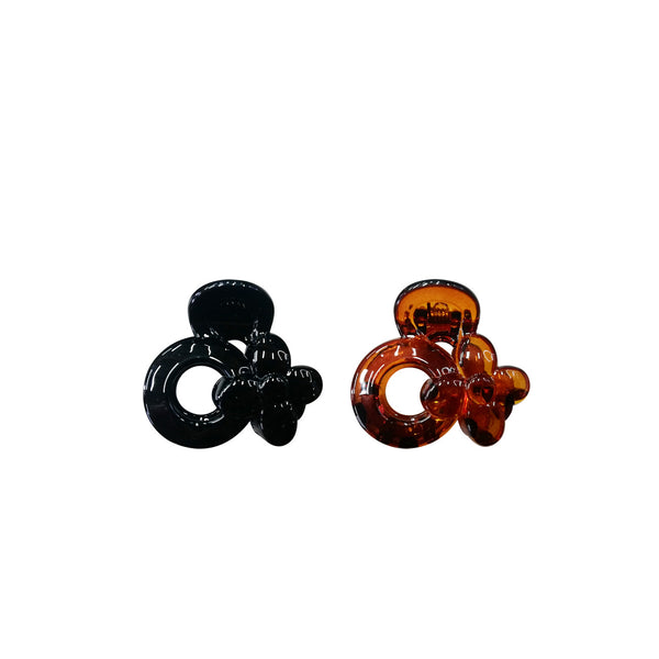 Flower Hair Clips Black/Brown - Pack of 2