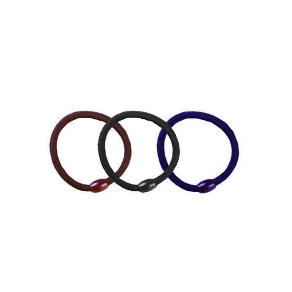Hair Ties Black/Brown/Blue - Pack of 3