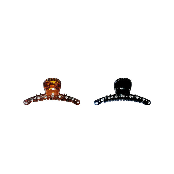 Thin Hair Clips Black/Brown - Pack of 2