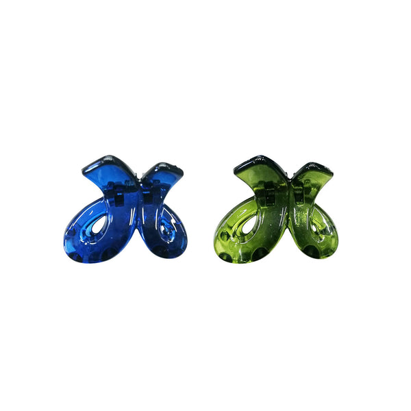 Hair Clips Blue/Green - Pack of 2