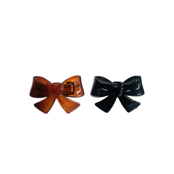 Bow Hair Clips Black/Brown - Pack of 2 - Medium