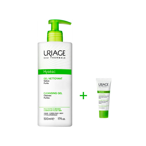 Hyséac Cleansing Gel Combination to Oily Skin 500ml + Hyséac 3-Regul Global Skin-Care 15ml