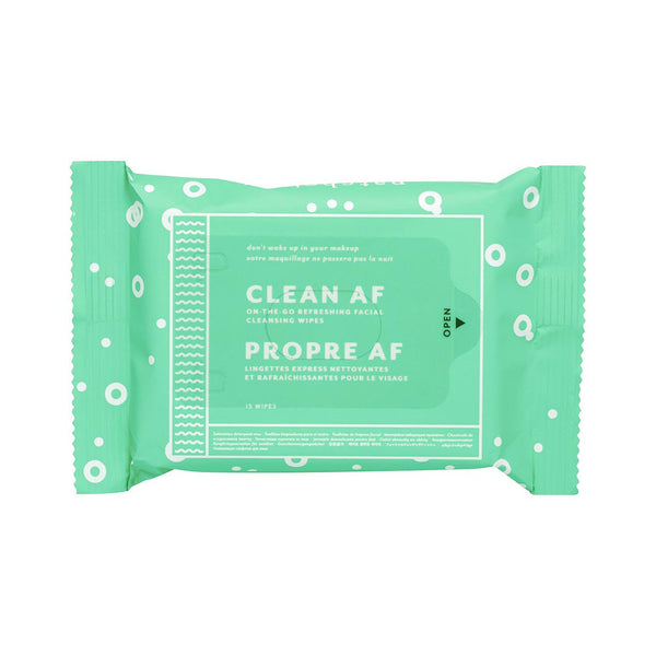 Clean AF Cleansing Facial Wipes - 15 Towelettes