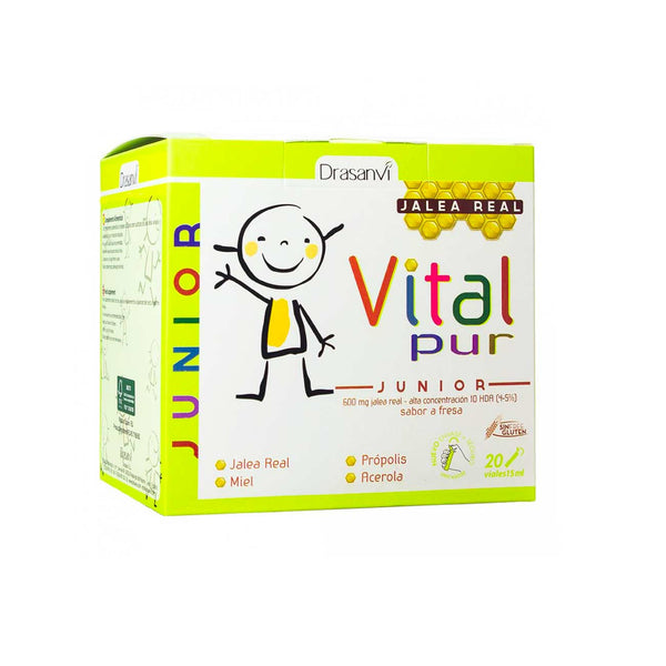 VitalPur Junior Royal Jelly, Strawberry Flavor - Box of 20 Vials