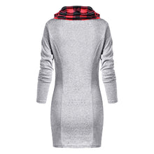 Load image into Gallery viewer, Plaid Trim Cowl Neck Tunic Sweatshirt Dress