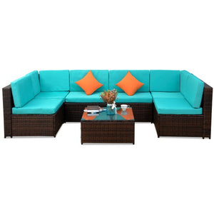 Furniture Sofa 7PCS-Blue cushion